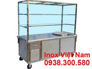 Xe bán hủ tiếu phở inox tích hợp nồi nấu nước lèo bằng điện 100L.