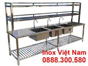 Bồn Rửa Inox 3 Ngăn Lớn Có Kệ Trên Kệ Dưới và Bàn Rửa 2 Bên Cánh CR-27