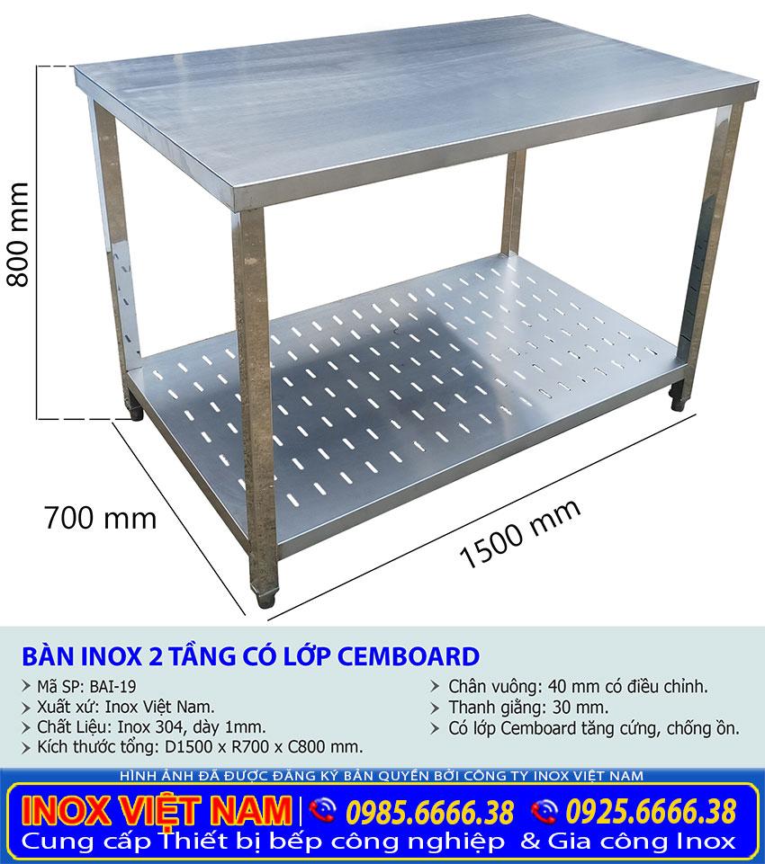Kích thước thông số kỹ thuật bàn chặt inox 2 tầng có lót cemboard tăng cứng chống ồn BAI-19