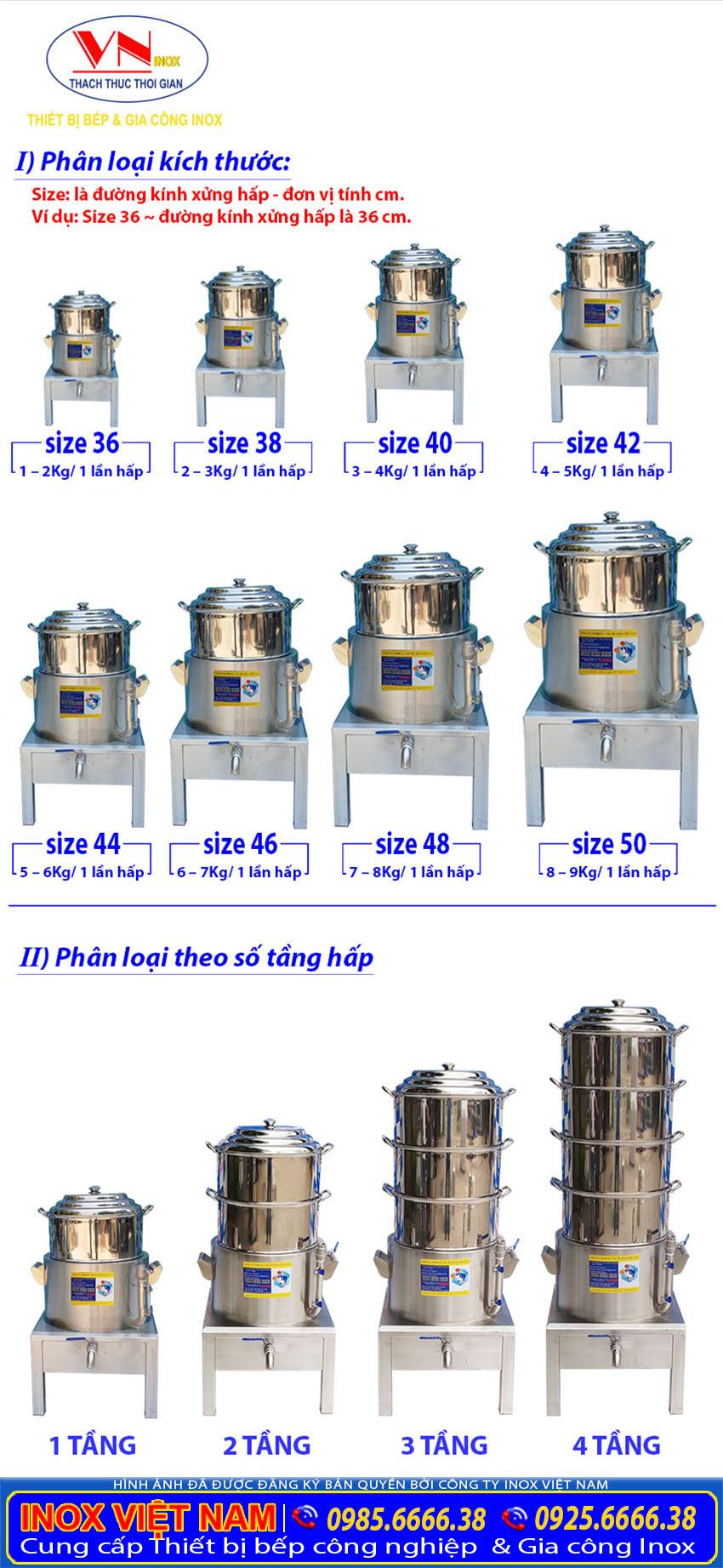 Phân loại nồi hấp điện công nghiệp, nồi hấp inox công nghiệp, nồi hấp cách thủy công nghiệp của Inox Việt Nam.