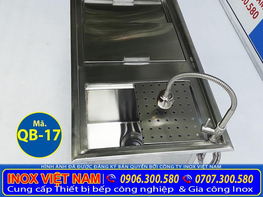 Tư vấn chọn mua thùng đá inox âm bàn kèm chậu rửa inox quầy bar QB-17 với kích thước mong muốn theo yêu cầu (Ảnh thật tế).