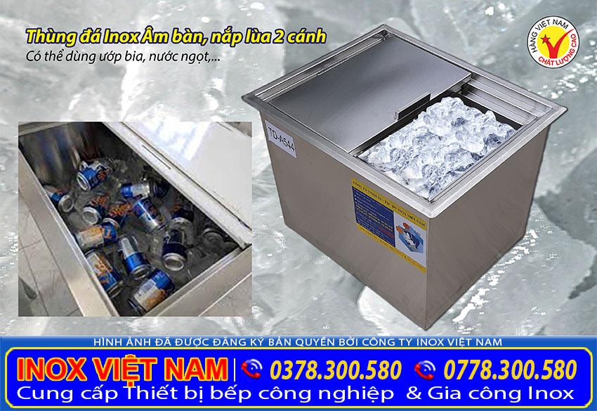Thùng đá inox, thùng đá inox âm bàn, tủ đá inox quầy bar với khả năng giữ nhiệt cho đá lạnh, hoa quả, nước uống, thực phẩm,...