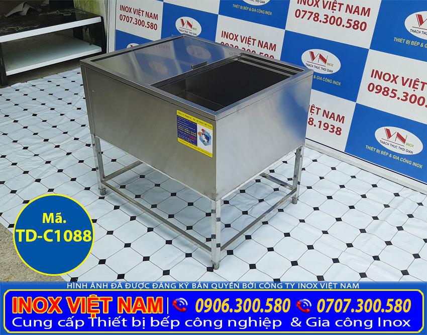 Báo giá thùng đá inox giữ nhiệt, thùng đựng đá inox có khung chân TD-C1088.