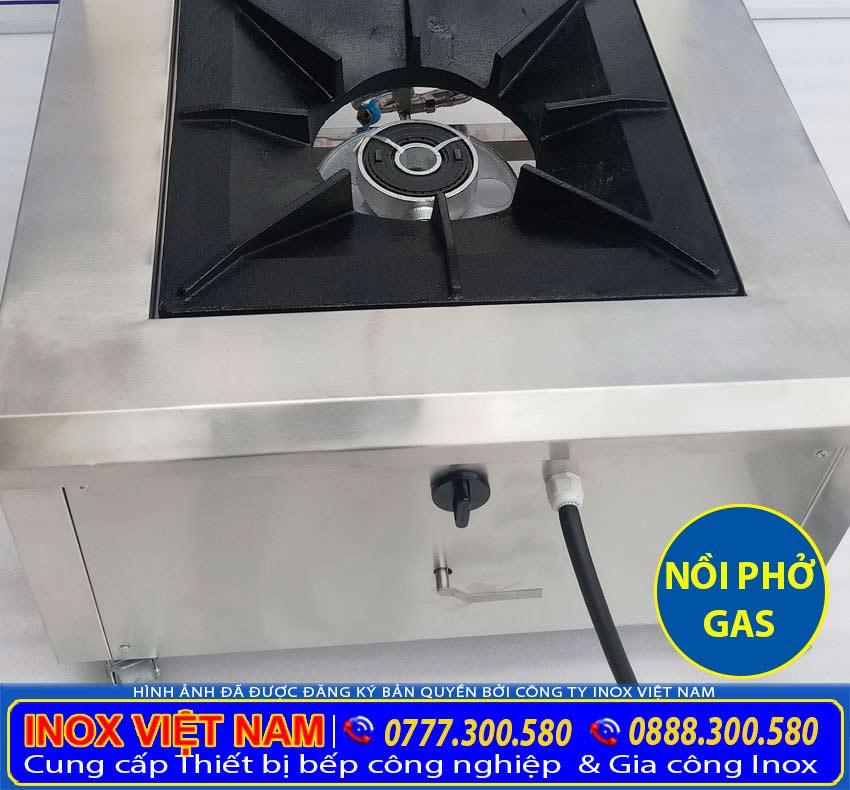 Nồi nấu phở bằng gas sử dụng bếp hầm đơn, dễ dàng sử dụng, hầm xương nhanh, lại tiết kiệm gas. Đặc biệt là tiết kiệm diện tích không gian bếp khi sử dụng bộ nồi nấu phở bằng gas 50 lít.