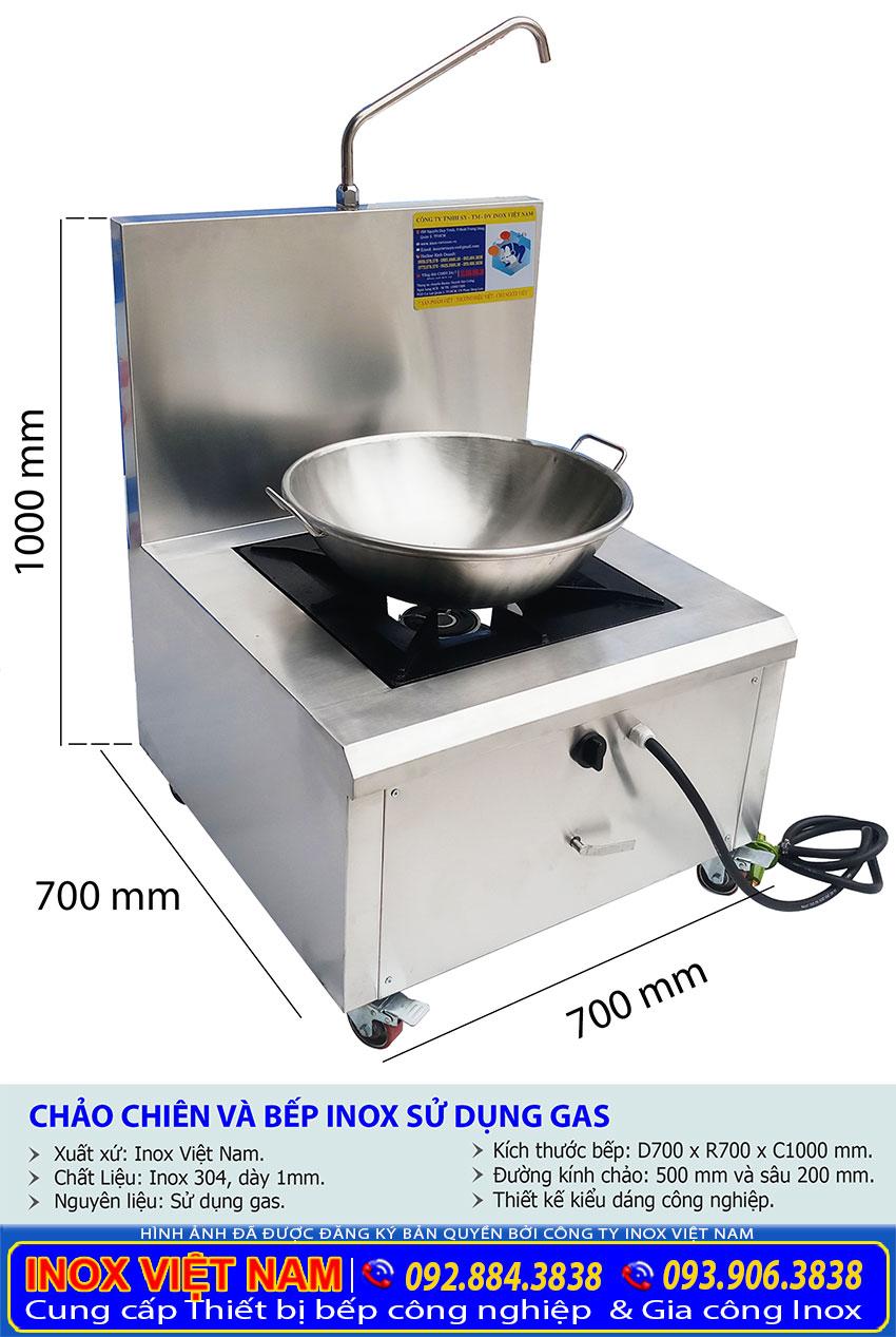 Kích thước chảo chiên công nghiệp và bếp inox sử dụng gas.