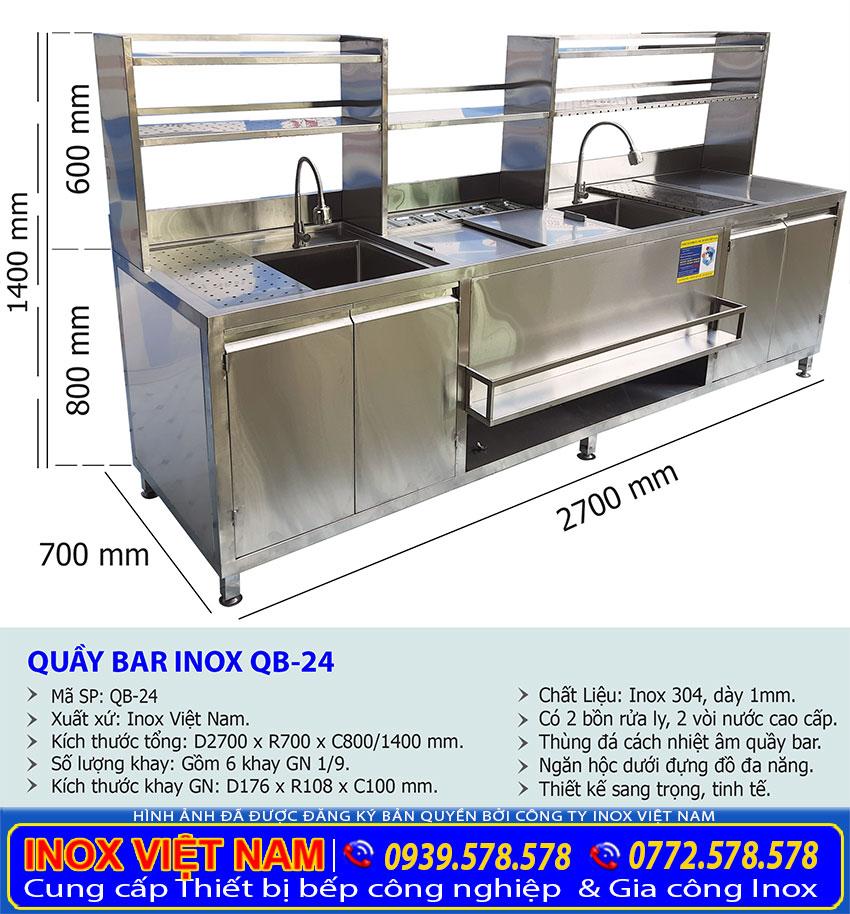 Kích thước quầy pha chế trà sữa inox, quầy cafe inox, quầy pha chế inox QB-24.