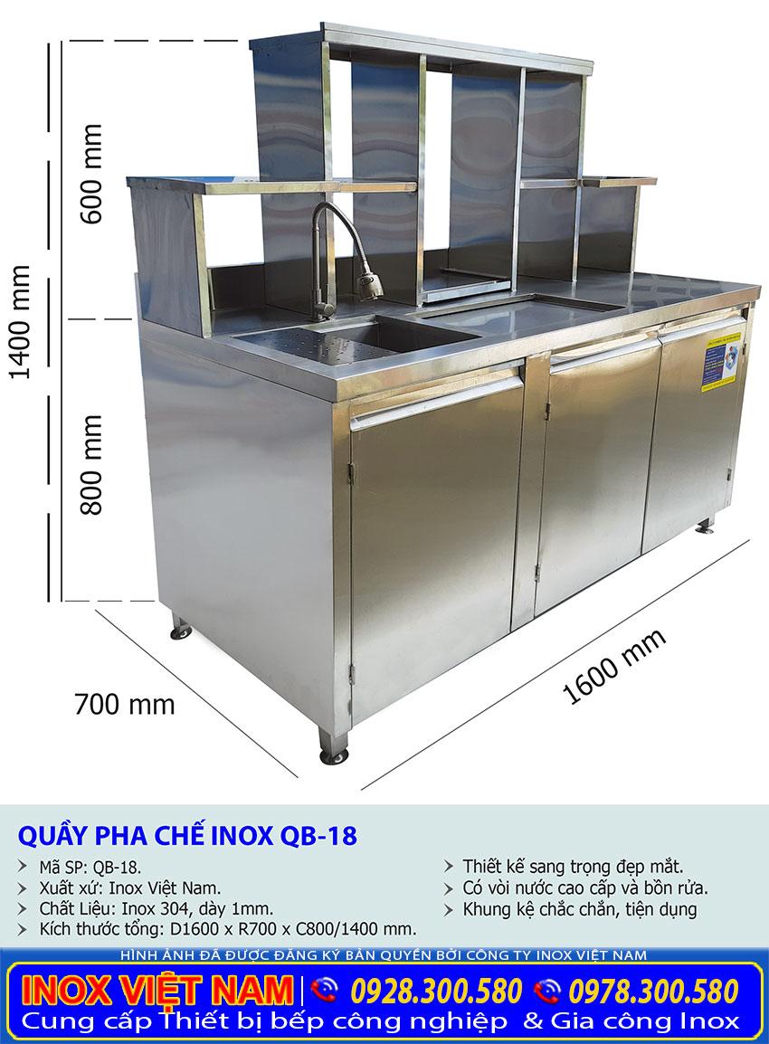 Kích thước quầy pha chế inox , quầy bar trà sữa inox, quầy pha chế cafe 1m6 QB-18.
