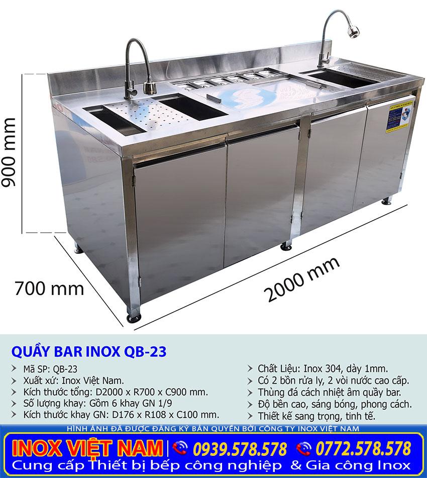 Kích thước quầy bar inox, quầy pha chế trà sữa inox 2m QB-23.
