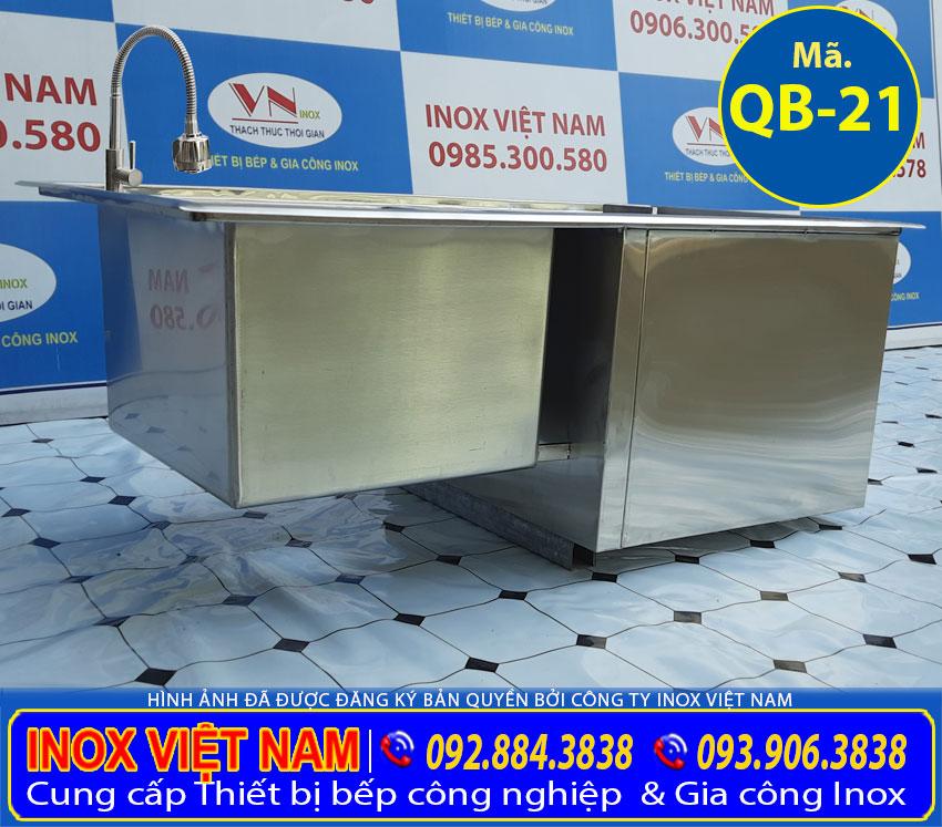 Báo giá thùng đá inox âm bàn, thùng đá inox có chân, thùng đá inox kèm bồn rửa inox quầy bar QB-21.
