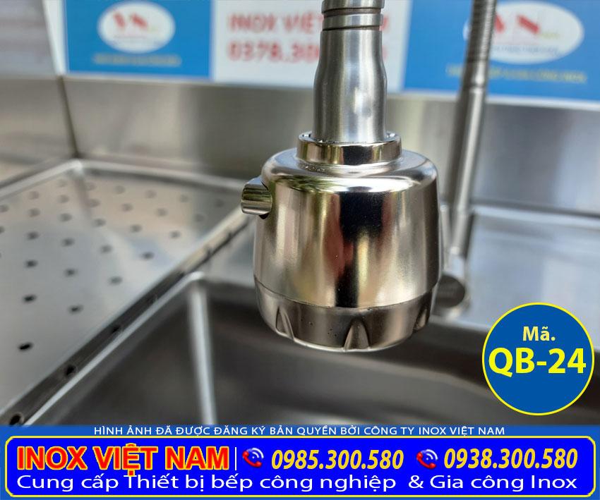 Thiết kế quầy pha chế trà sữa, quầy bar inox QB-24. Thiết kế với 2 vòi xả nước. Bằng chất liệu inox 304 cao cấp, chất lượng.