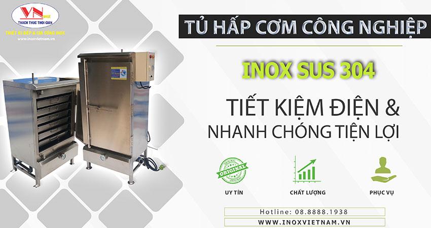 Thiết bị bếp inox công nghiệp - Địa chỉ mua tủ nấu cơm công nghiệp, tủ hấp cơm công nghiệp bằng điện và gas, tủ cơm công nghiệp chất lượng giá tốt tại TPHCM.