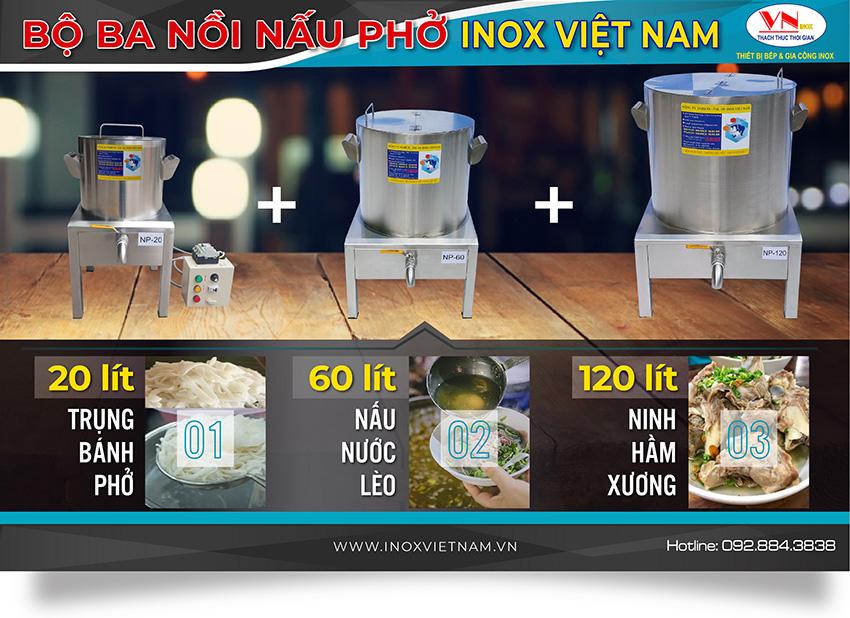 Thiết bị bếp inox công nghiệp - Địa chỉ mua nồi điện nấu phở, bộ đôi nồi nấu phở bằng điện, bộ 3 nồi nấu phở inox sử dụng điện. Chất lượng chính hãng giá tốt tại TPHCM.