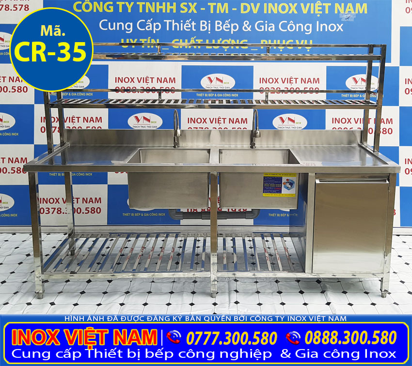 Địa chỉ mua chậu rửa đôi công nghiệp có hộc tủ giá tốt chất lượng tại TPHCM.