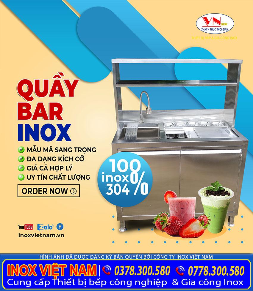 Thiết bị bếp inox công nghiệp - Địa chỉ mua, quầy bar cafe inox, quầy pha chế trà sữa inox giá rẻ tại tphcm.