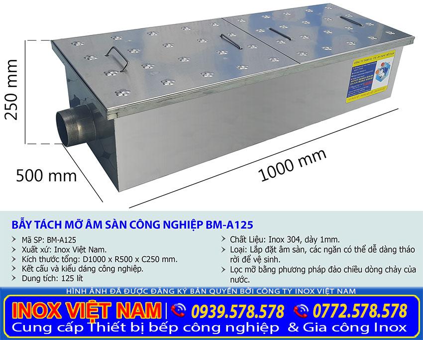 Kích thước bể tách mỡ âm sàn công nghiệp, bẫy mỡ âm sàn BM-A125.