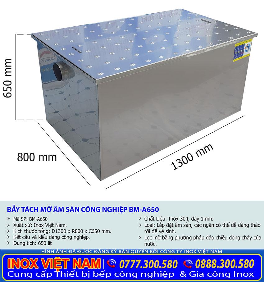 Kích thước bẫy mỡ âm sàn, bể tách mỡ công nghiệp 650 lít BM-A650.