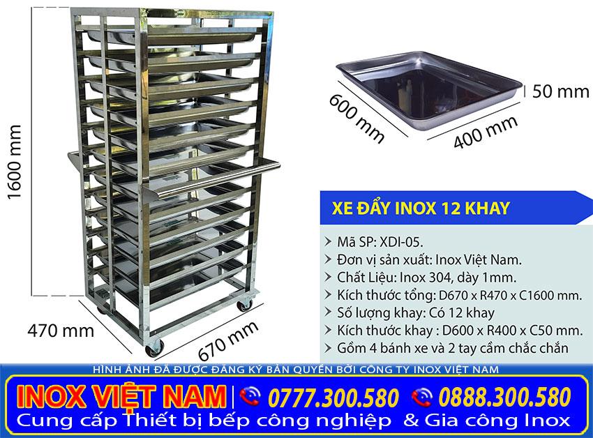 Kích thước xe đẩy inox 12 tầng – 12 khay inox 304, xe đẩy hàng inox 12 khay XDI-05.