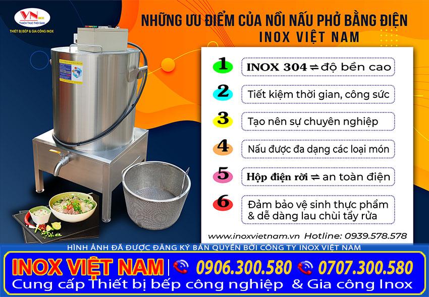 Nhưng ưu điểm nồi nấu phở điện của Inox Việt Nam. Khi lựa chọn sử dụng sản phẩm nồi điện công nghiệp đa năng này.