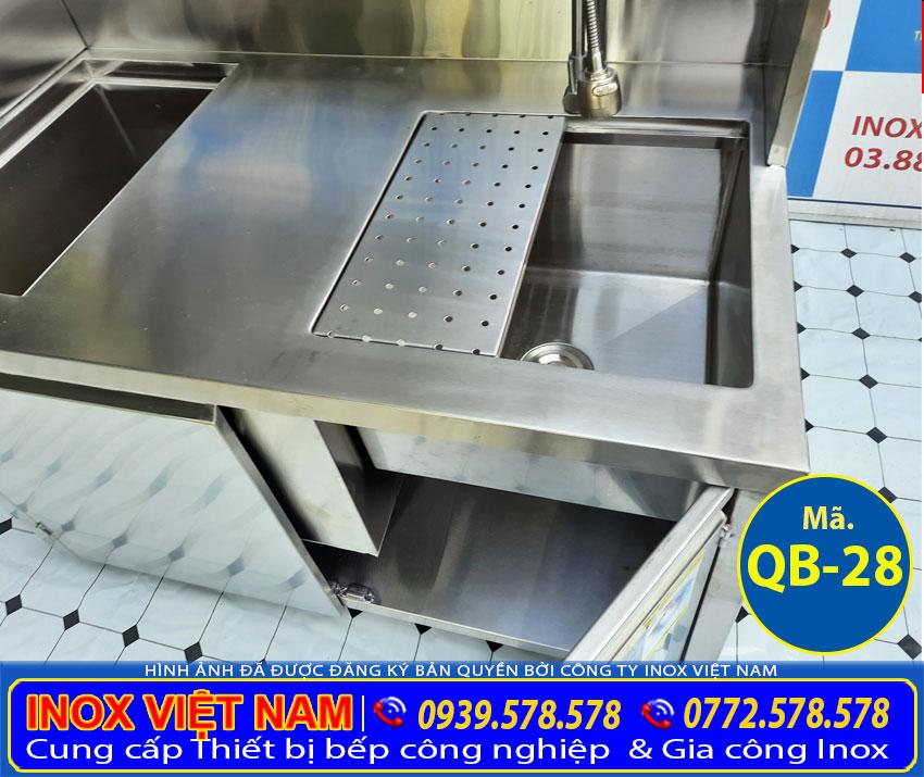Chi tiết bồn rửa ly quầy pha chế trà sữa inox mini QB-28.
