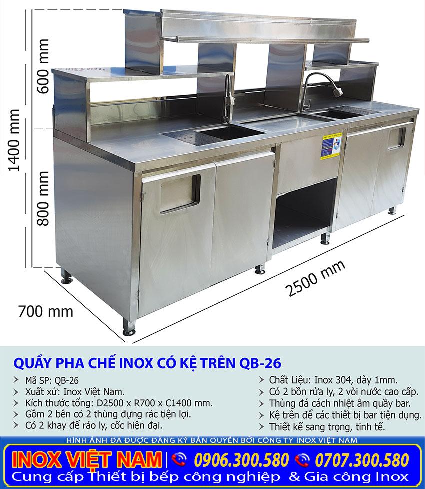 Kích thước quầy pha chế inox, quầy bar inox trà sữa QB-26.