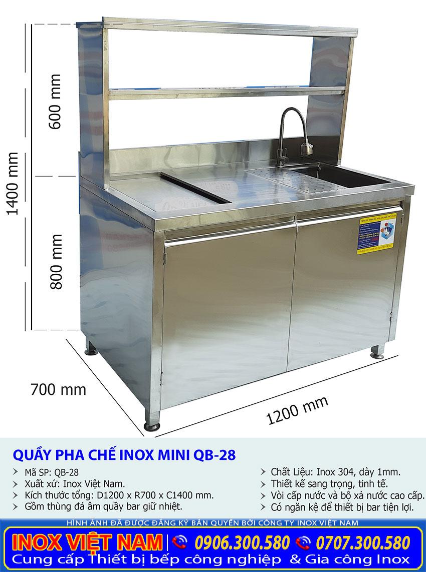Kích thước quầy pha chế trà sữa mini QB-28.