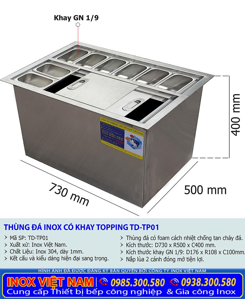 Kích thước thùng đá inox có khay topping, thùng đựng đá inox TD-TP01.