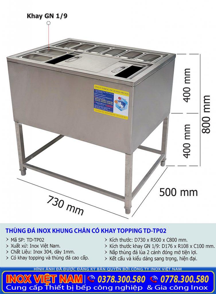 Kích thước thùng đá inox quầy bar, thùng đá inox có khay topping TD-TP02.