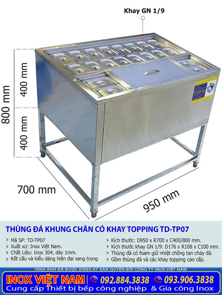 Kích thước thùng đựng đá inox có khay topping, thùng đá inox có chân TD-TP07.