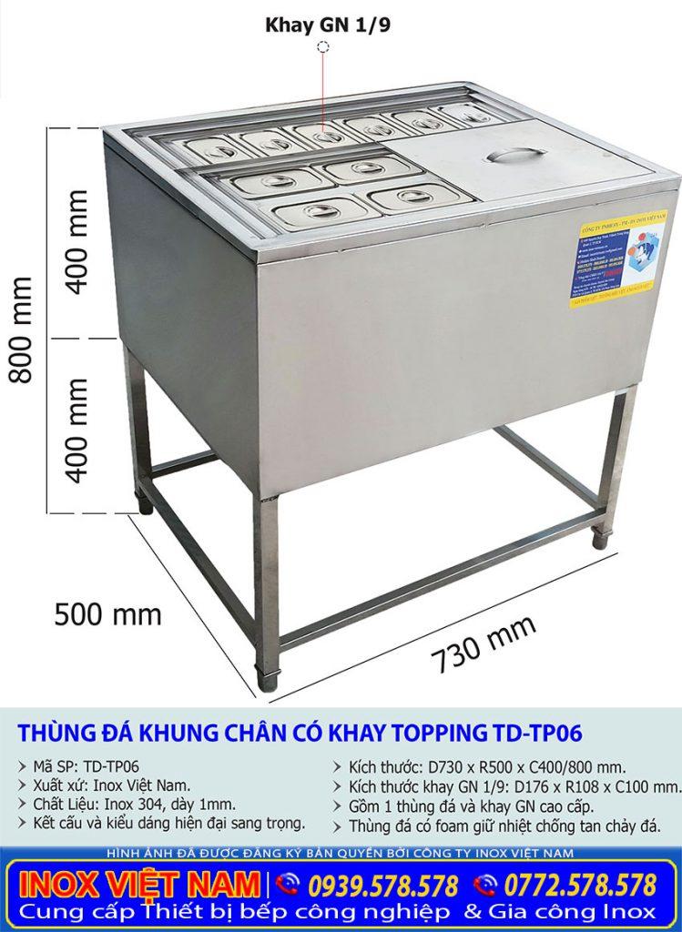 Kích thước thùng chứa đá inox có chân kèm khay topping TD-TP06.