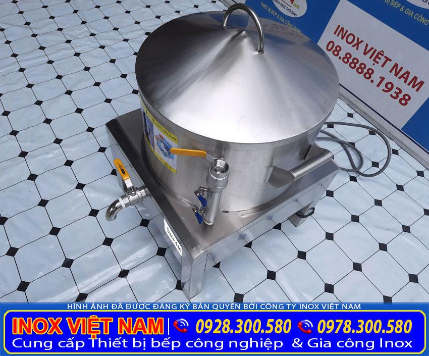 Chi tiết ống đo mực nước nồi hấp bánh bèo inox sử dụng điện.