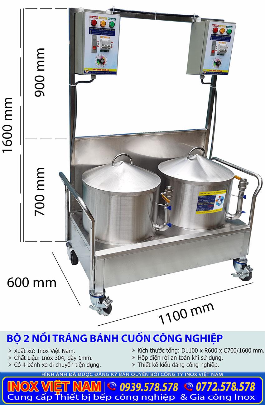 Thông số kỹ thuật bộ nồi điện tráng bánh cuốn 2 nồi tại Inox Việt Nam.
