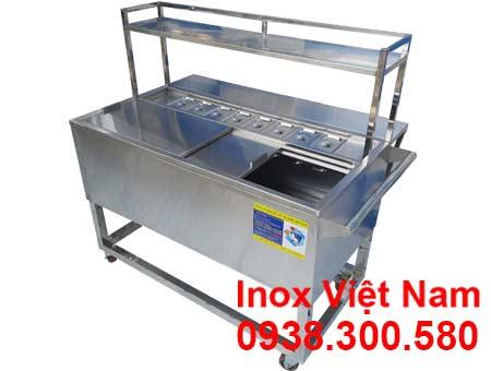 Thùng Đá Inox Khung Chân Có Khay Topping & Bánh Xe TD-TP25
