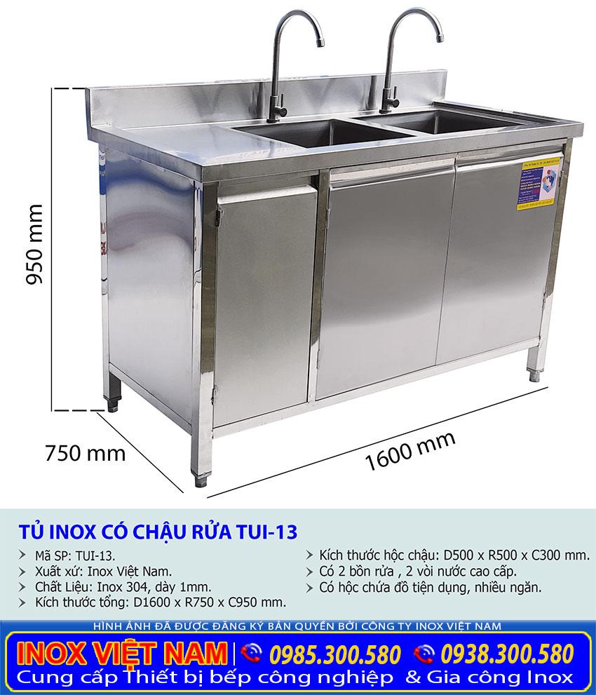 Kích thước tủ chén inox có 2 bồn rửa TUI-13.