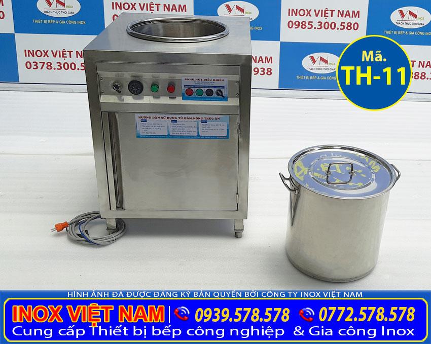 Tủ giữ nóng thức ăn công nghiệp kèm nồi inox 50 lít, mẫu tủ hâm nóng thức ăn cao cấp. Với thiết kế đẹp sang trọng.