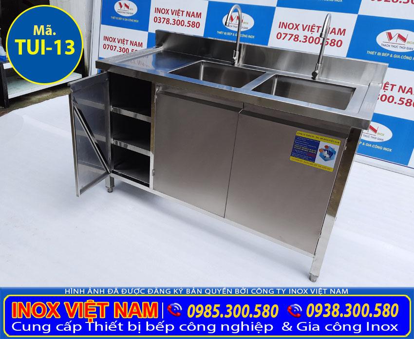Báo giá tủ inox có bồn rửa, tủ bếp inox công nghiệp.