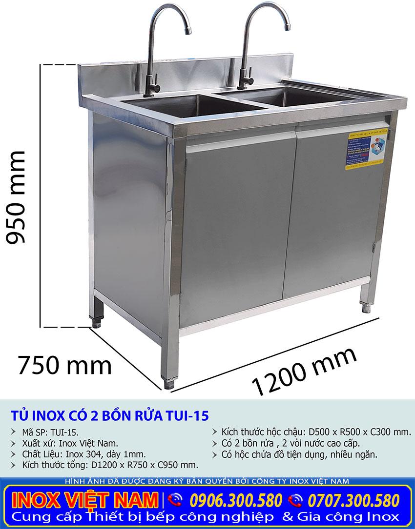 Kích thước tủ bồn rửa chén 2 ngăn TUI-15.