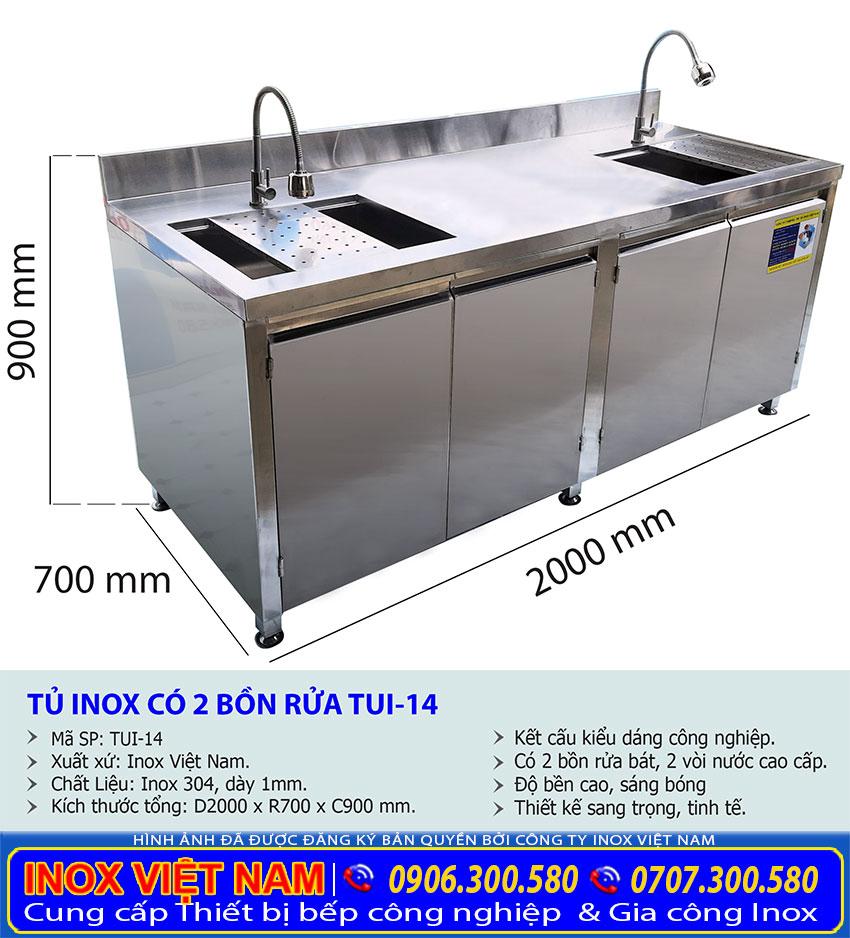Kích thước bồn rửa chén có tủ, tủ bếp inox 304 TUI-14.