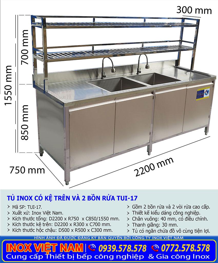 Kích thước tủ đựng chén bát bằng inox có 2 bồn rửa và kệ trên TUI-17.