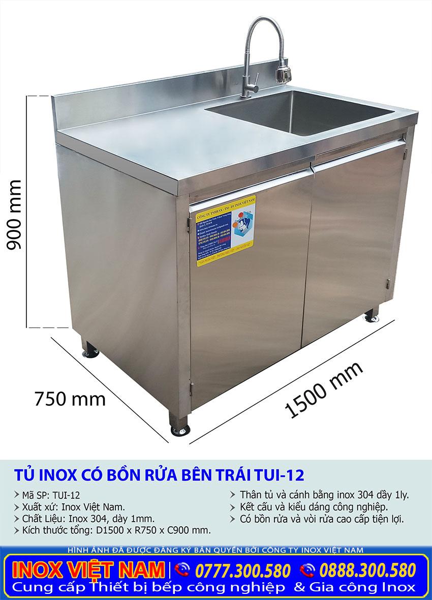 Kích thước tủ inox đựng chén bát bằng inox, tủ inox có bồn rửa.
