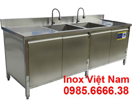 Tủ Bếp Inox Có 2 Bồn Rửa Chén TUI-16