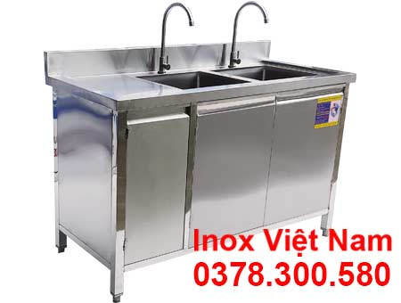Tủ Inox Có 2 Bồn Rửa TUI-13