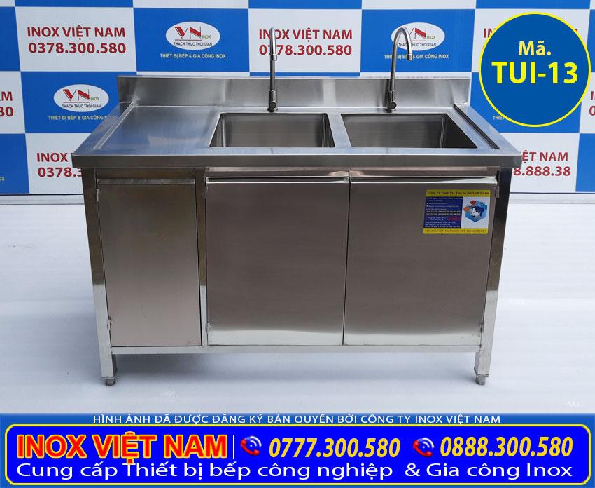 Tủ inox có 2 bồn rửa TUI-13, mẫu tủ bếp inox cao cấp của Thiết bị bếp inox công nghiệp.