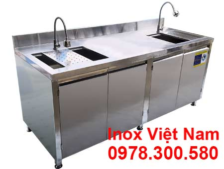 Tủ Inox Có 2 Bồn Rửa TUI-14