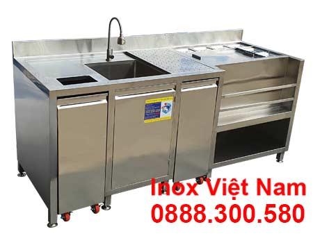 Quầy pha chế trà sữa inox QB-32.