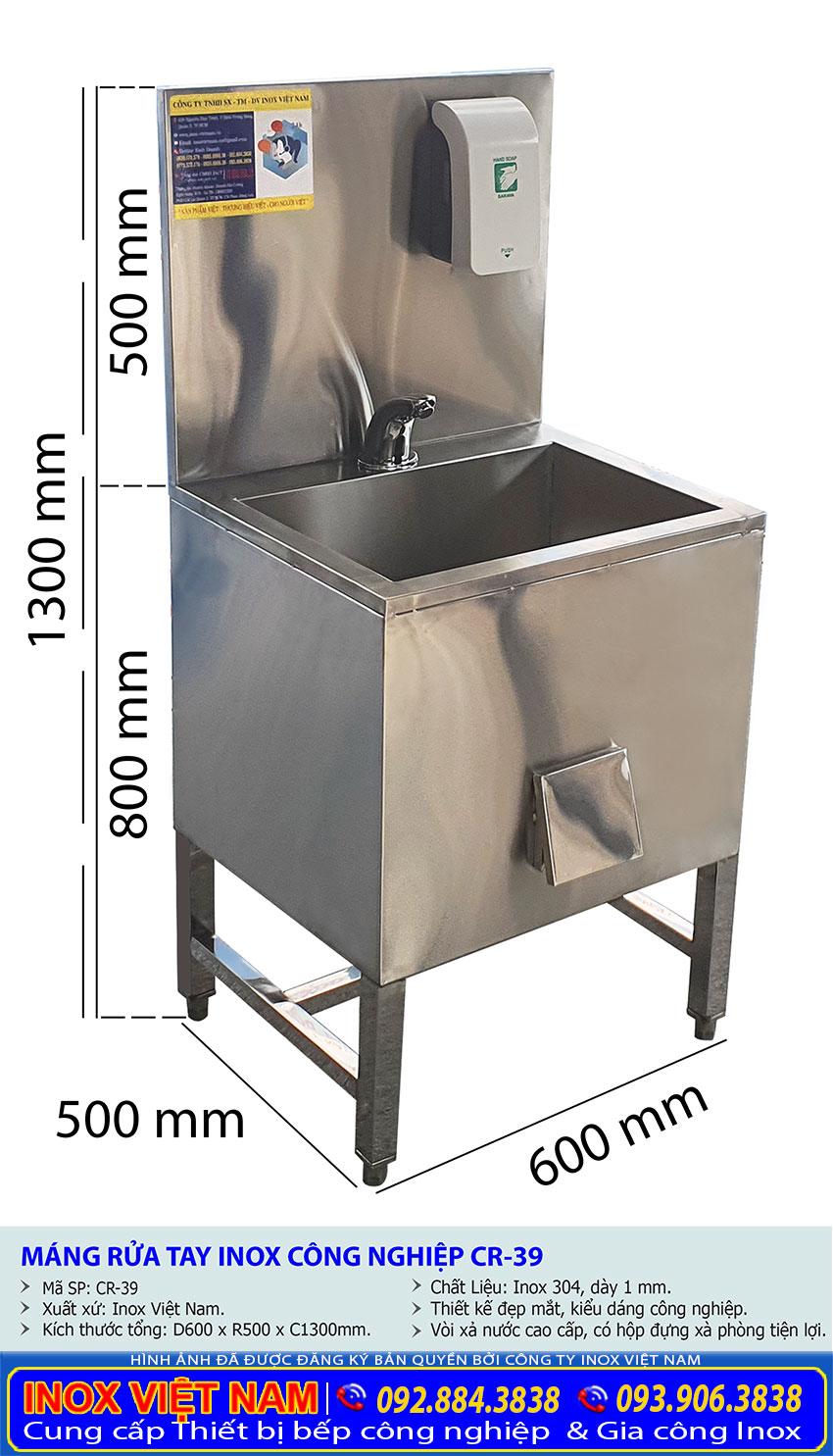 Kích thước chậu rửa inox đơn có bình đựng xà phòng CR-39.