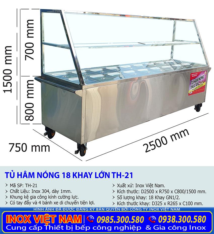Kích thước tủ hâm nóng thức ăn 18 khay TH-21.