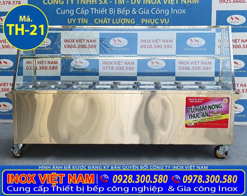 Tủ hâm nóng thức ăn 18 khay TH-21 với thiết kế công nghiệp, kiểu dáng đẹp, sang trọng tiện lợi.