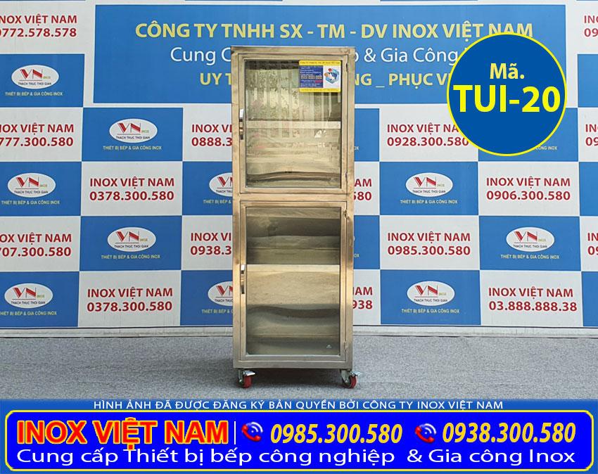 Địa chỉ mua tủ bếp inox cánh kính chứa đồ TUI-19.