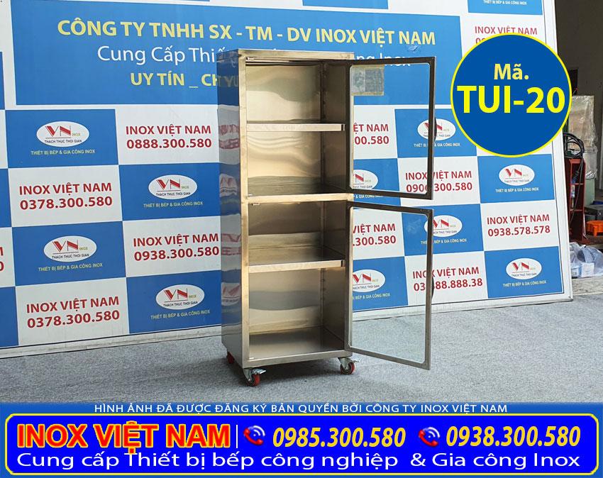 Báo giá tủ bếp inox cánh kính chứa đồ TUI-19