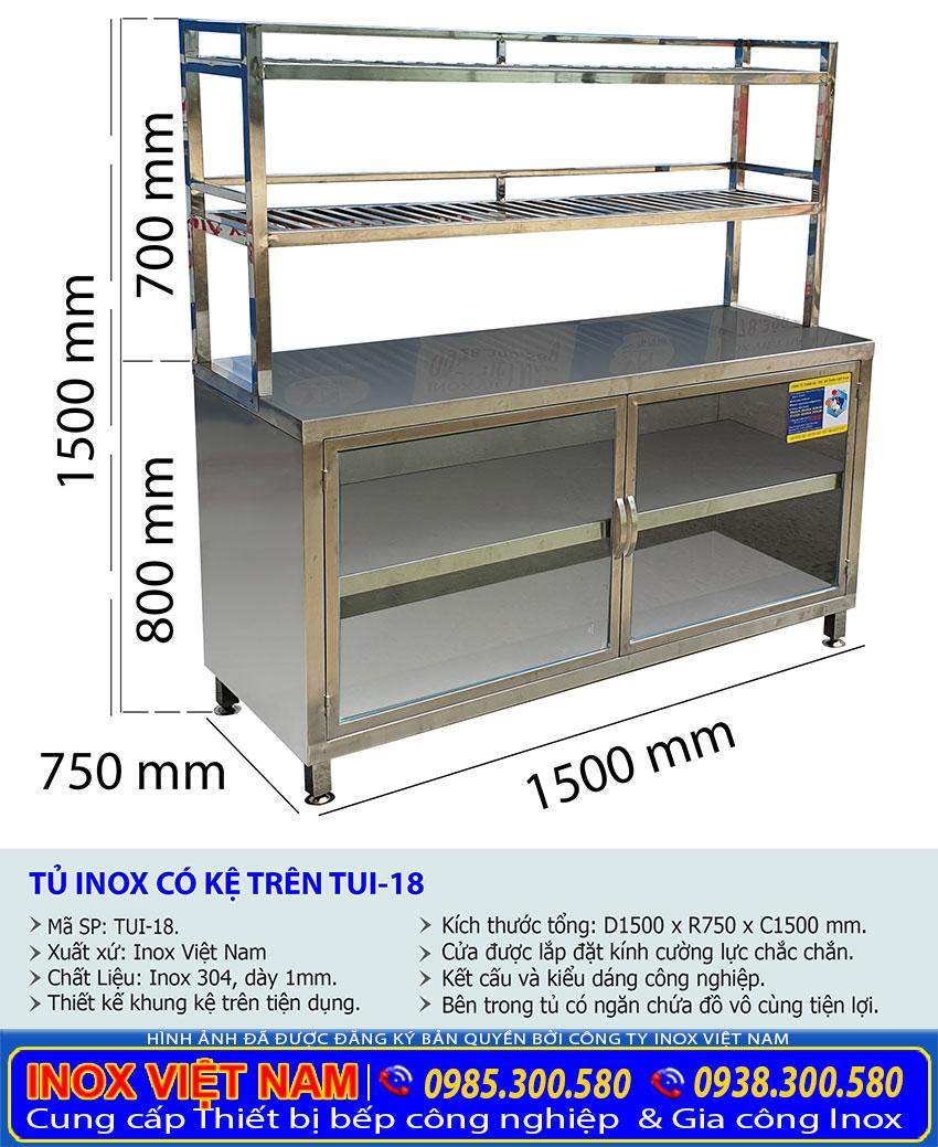 Kích thước tủ bếp inox công nghiệp TUI-18.
